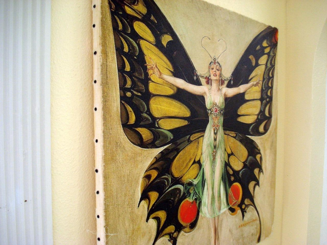 Leyendecker-Painting-Print-on-Canvas-Ready-to-Hang-Nouveau-Deco-Butterfly