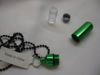 Necklace pill bottle new 24 chain pill container ems meds for Pill bottle jewelry