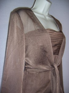 ADRIANNA PAPELL Brown Chiffon Formal Evening Gown Dress & Sheer Jacket
