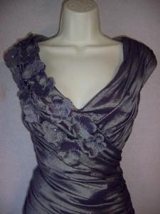 HOWARD Purple Taffeta V Neck Ruched Formal Gown Dress 14 NWT
