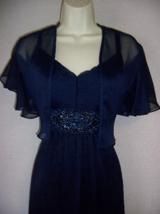 km collections navy blue chiffon beaded formal gown dress