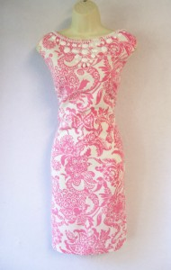 JESSICA HOWARD Pink Print Sleeveless Beaded Cocktail Dress 16 NWT