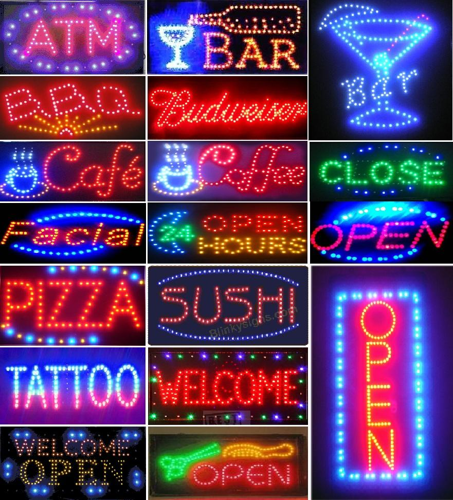 led business cafe club sign on off switch bright open light neon. Black Bedroom Furniture Sets. Home Design Ideas