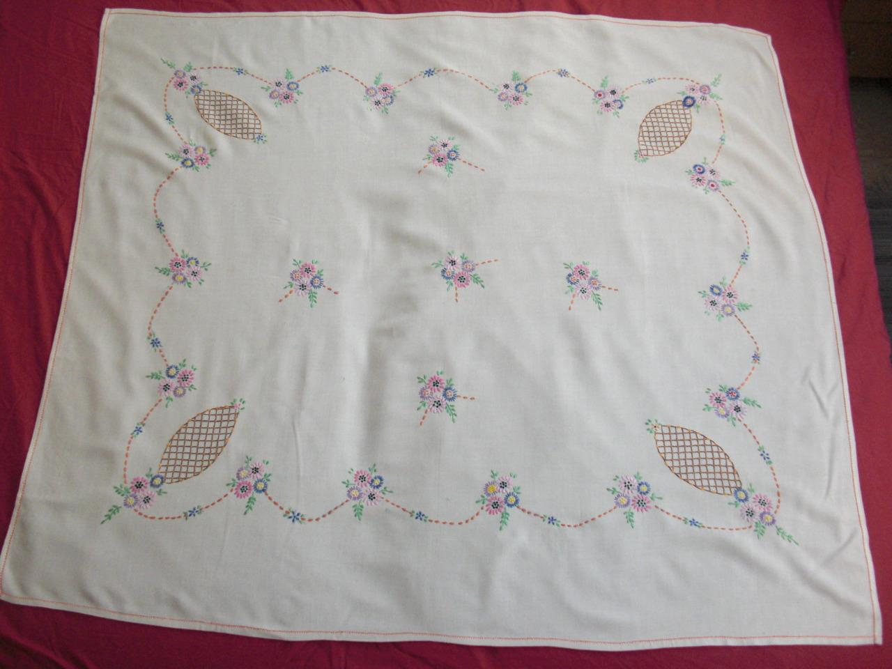 Vintage hand embroidered flowers tablecloth quot x ebay
