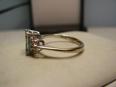 Nice 10K White Gold Blue Topaz and Diamond Ring