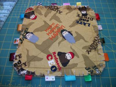 Duck Dynasty Rag Quilt Taggie. Security Blanket, Baby Toddler Toy