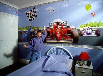 pics photos race car wall mural for decorating boy s rooms