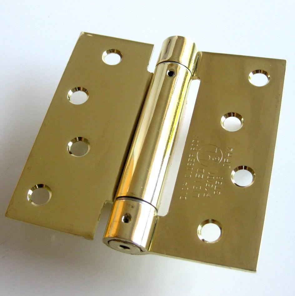 4 x 4 spring door hinge square corner polished brass adjustable self closing. Black Bedroom Furniture Sets. Home Design Ideas