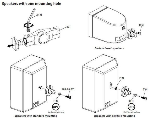 8 Sanus Brand Universal Tilt Swivel Black Speaker Wall