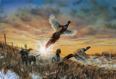 Jim Hansel Opening Day Signed and Numbered Pheasant Hunting Print 29 x