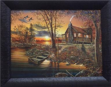 Jim Hansel As Night Falls Cabin Lake Studio Canvas Framed