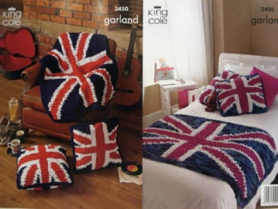 Knitting Pattern Union Jack Cushion Cover : KING COLE ENGLAND UNION JACK THROW CUSHION GARLAND YARN KNITTING PATTERN 3450...