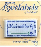 Iron on garment labels knitting sewing hand made with love for Hand knit with love labels