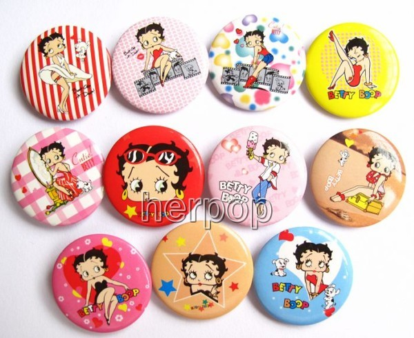 new lot 48pcs betty boop badge button pin