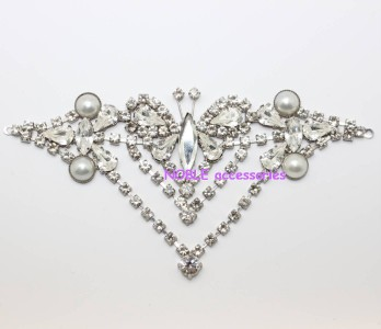 diamante rhinestone crystal bridal couture applique silver buckle