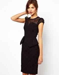 New karen millen black brocade peplum dress bnwt size uk 8 10 12 14