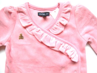 NWT 3 6 12 BABY GAP Pink Velour Bear Face Romper One Piece