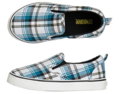 NWT-Gymboree-9-10-1-SPY-GUYS-Blue-Plaid-Slip-on-Gray-Helicopter-Sneakers-Shoes