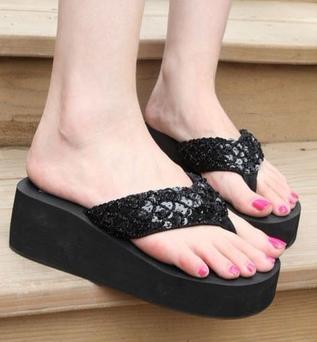 Fashion New Black Bling Sparkle Lady Beach Slope Slippers Shoes