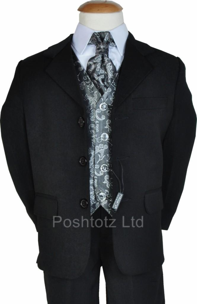 BOYS-SUITS-5PC-SILVER-PROM-WEDDING-PAGE-BOY-11-12-y