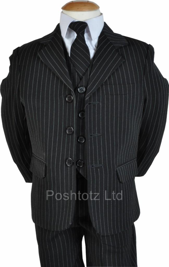 Baby-Boys-5pc-Black-Pinstripe-Suit-Wedding-Pageboy-Formal-Wear-3-6-months