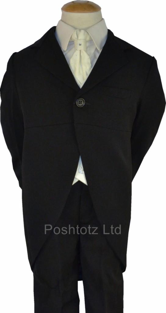 Boys-5pc-Black-amp-Cream-Tails-Suit-Wedding-Pageboy-Formal-0-3-Mnth-14-15-Year