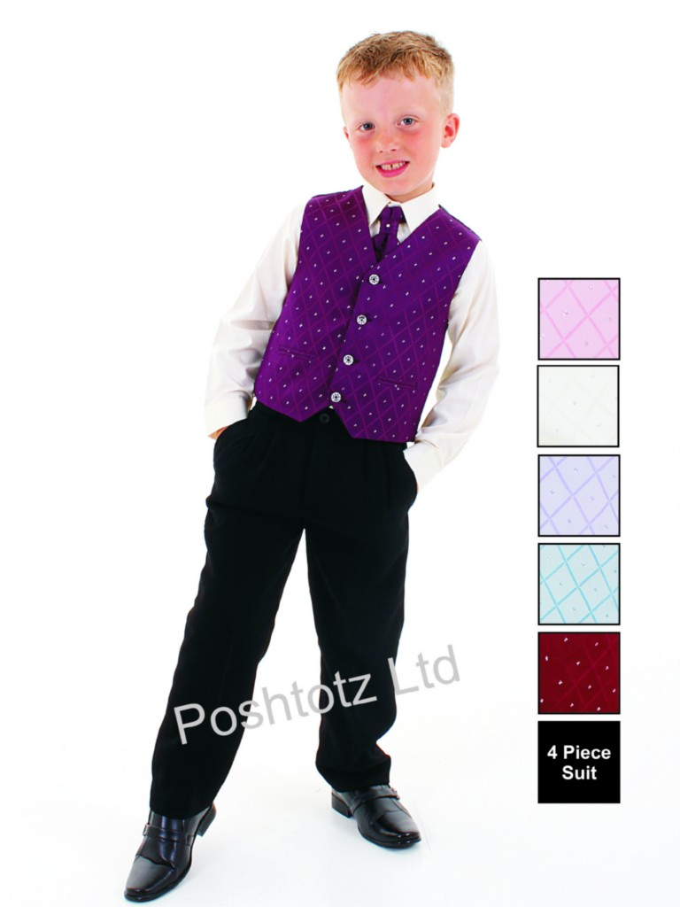 Boys-4pc-Purple-Black-Formal-Suit-suitable-for-Weddings-Christening-Prom