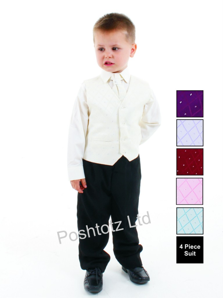 Boys-4pc-Cream-amp-Black-Formal-Suit-Wedding-Pageboy-0-3months-8-9years
