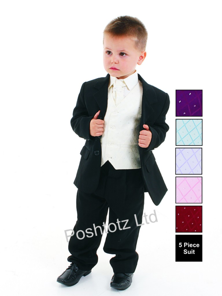 Boys-5pc-Cream-Black-Formal-Suit-Wedding-Pageboy-Christening-0-3mths-14yrs