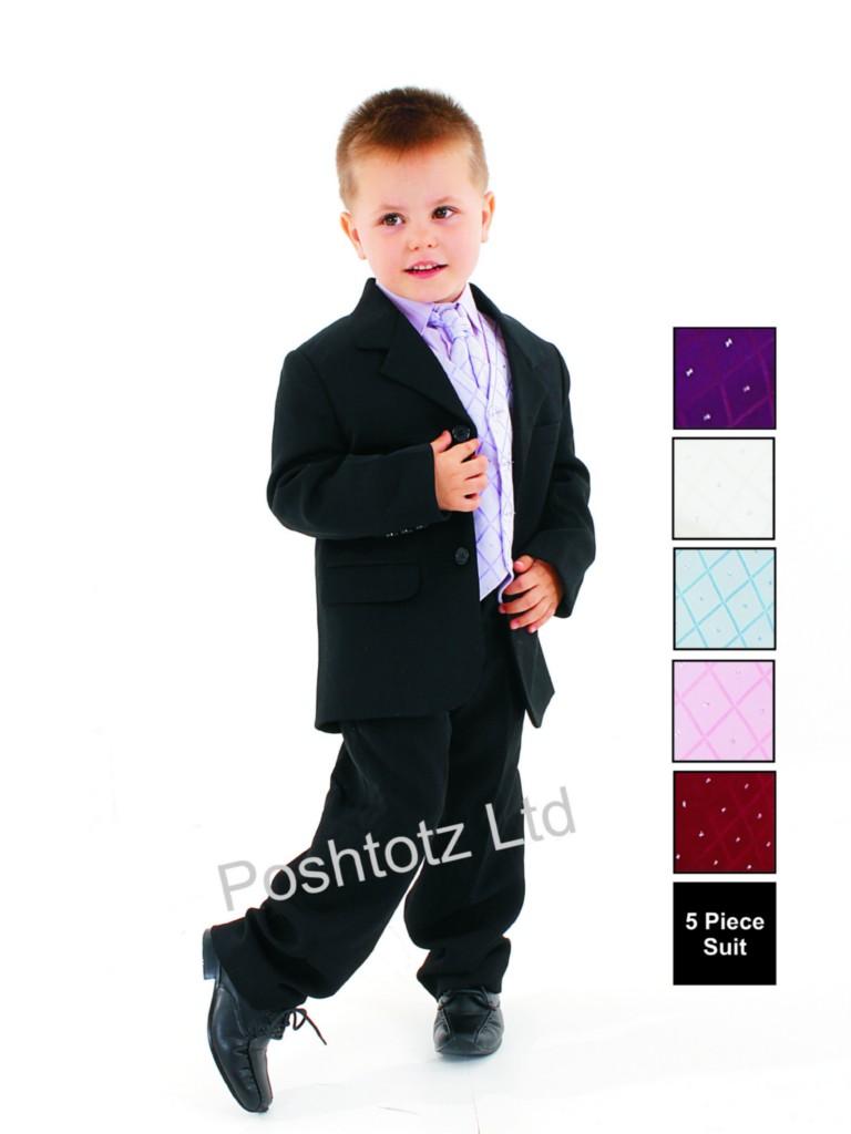 Boys-5pc-Lilac-Black-Formal-Suit-Wedding-Christening-Pageboy-0-3mths-14yrs