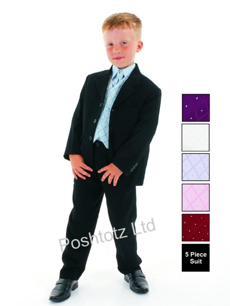 Boys-5pc-Blue-Black-Formal-Suit-Christening-Wedding-Pageboy-0-3mths-14yrs