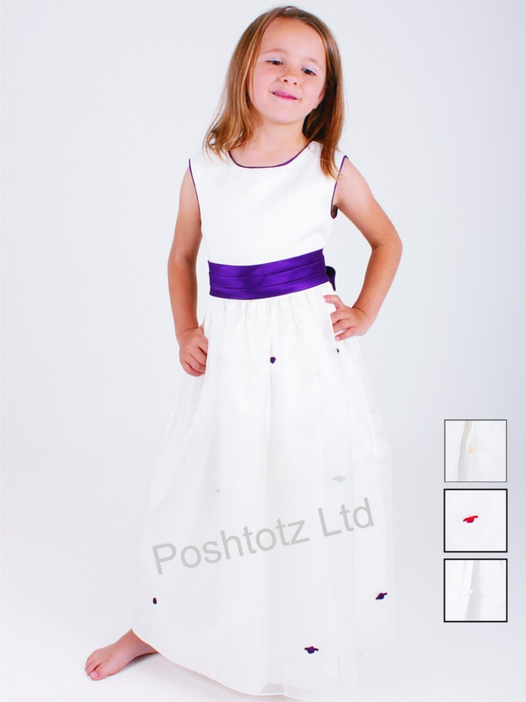 Girls gorgeous cream purple occasion dress wedding for Cream and purple wedding dresses