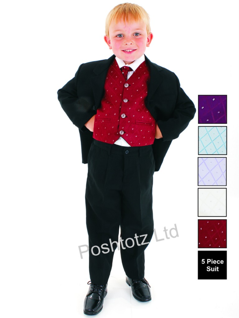 Boys-5pc-Wine-amp-Black-Formal-Suit-Wedding-Christening-Pageboy-0-3mths-14yrs