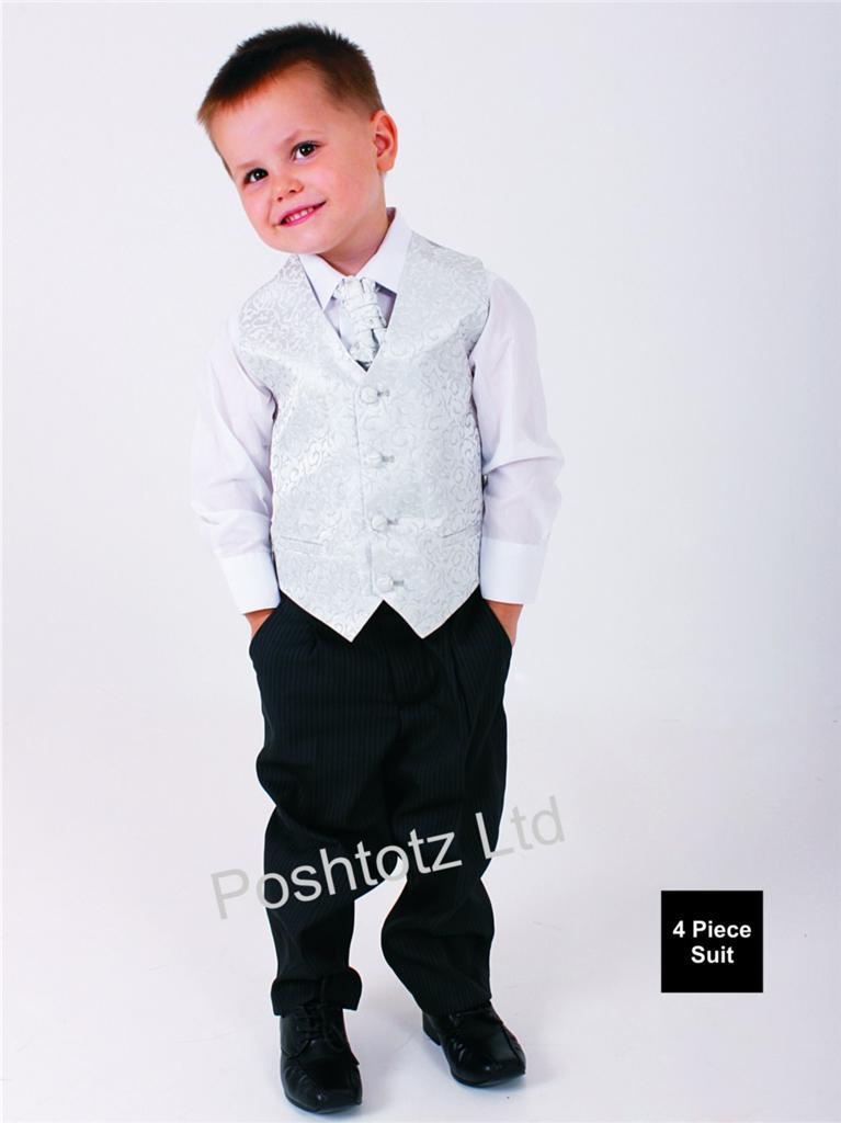 Boys-4-piece-Black-and-Silver-Swirl-Suit-Wedding-Pageboy-Prom-3-6mths-8-9yrs
