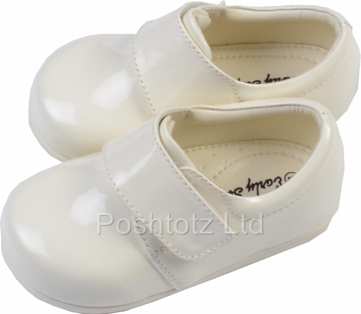 Junior Chicos Smart Blanco, Crema, Negro Patente resbalón en el zapato Junior (7-10)