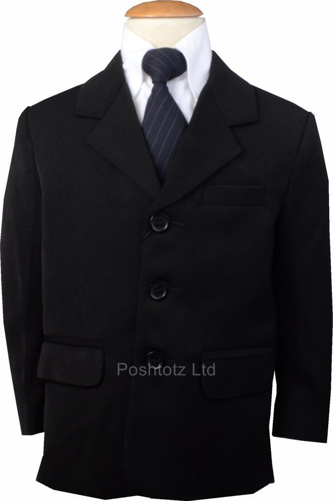 Boys-Smart-Black-Formal-Suit-Jacket-Weddding-Pageboy-Party-Prom-0mths-9-years
