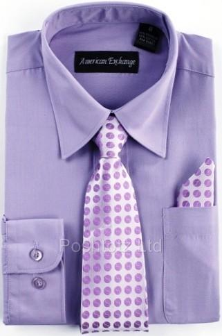 Boys-American-Exchange-Lilac-Shirt-Tie-Pocket-Square-Wedding-Prom-1-16yrs