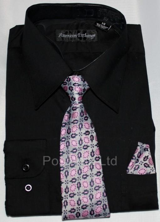 Boys-American-Exchange-Black-Shirt-Tie-Wedding-Party-Prom-1-16yrs