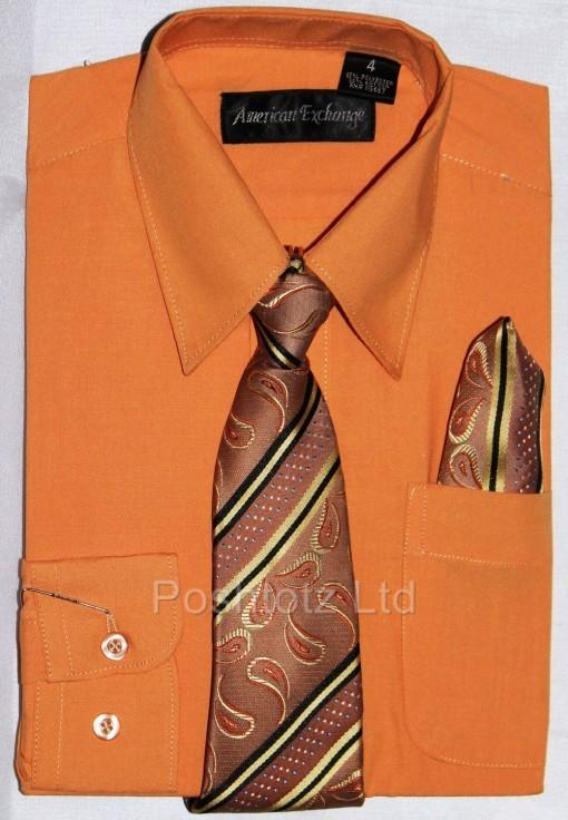 Boys-American-Exchange-Orange-Shirt-Tie-Pageboy-Party-Prom-1-16yrs
