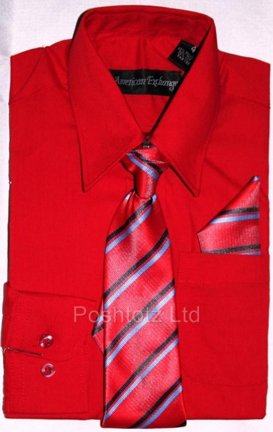 Boys-American-Exchange-Red-Shirt-Tie-Pocket-Square-Wedding-Party-1-16yrs