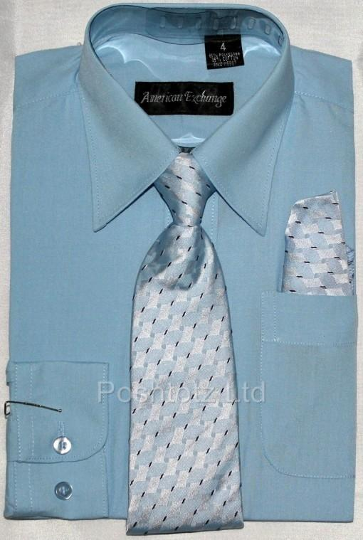 Boys-American-Exchange-Sky-Blue-Shirt-Tie-Pocket-Square-Pageboy-1-16yrs