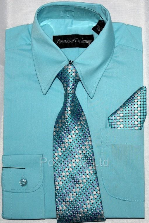 Boys-American-Exchange-Turquoise-Shirt-Tie-Pocket-Square-Pageboy-1-16yrs