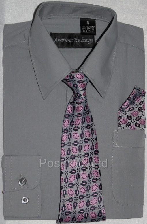 Boys-American-Exchange-Grey-Shirt-Tie-Pocket-Square-Pageboy-Prom-1-16yrs