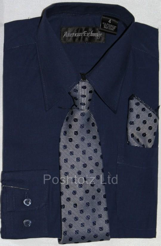Boys-American-Exchange-Navy-Shirt-Tie-Pocket-Square-Pageboy-Prom-1-16yrs