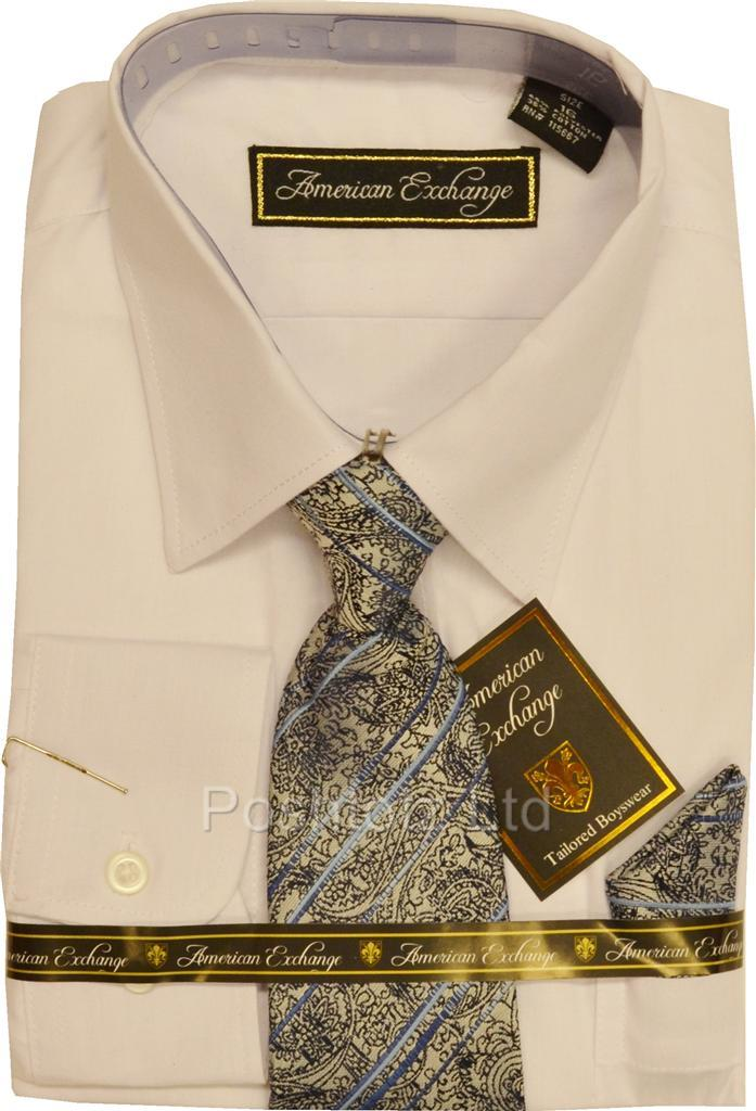 Boys-American-Exchange-White-Dress-Shirt-Paisley-Tie-Party-Prom-12-13-years