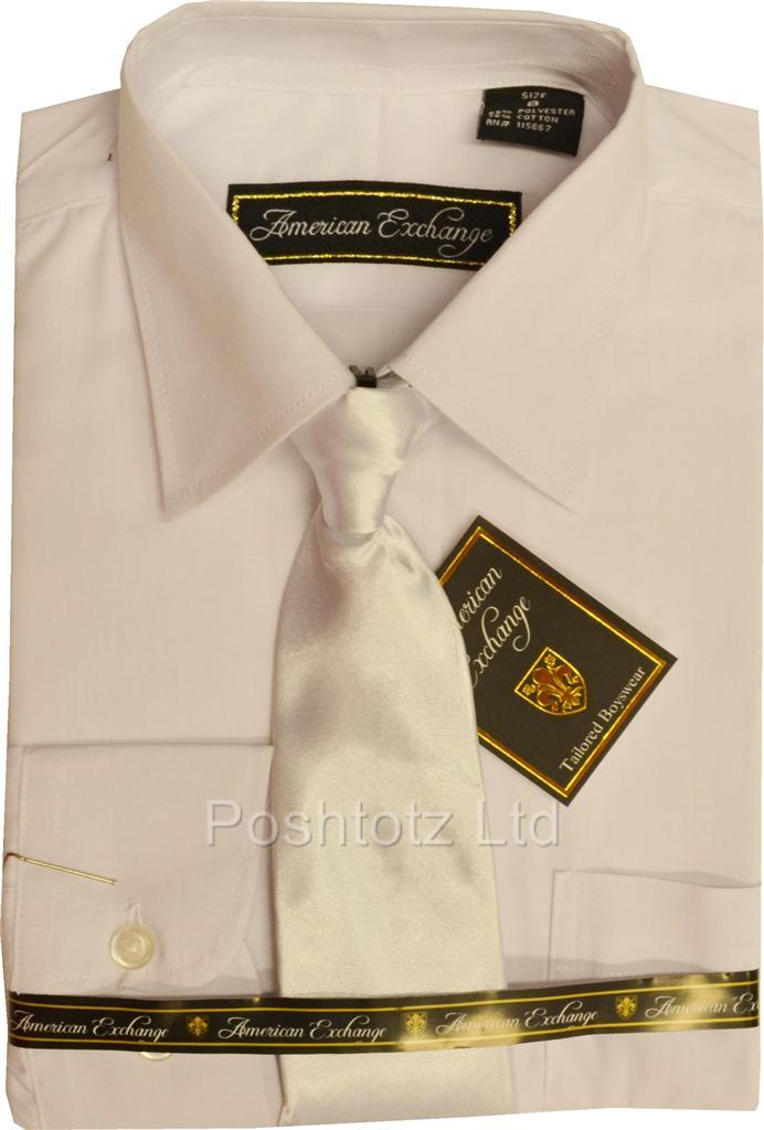 Boys-American-Exchange-White-Dress-Shirt-Tie-Wedding-Prom-Pageboy-1-16-years