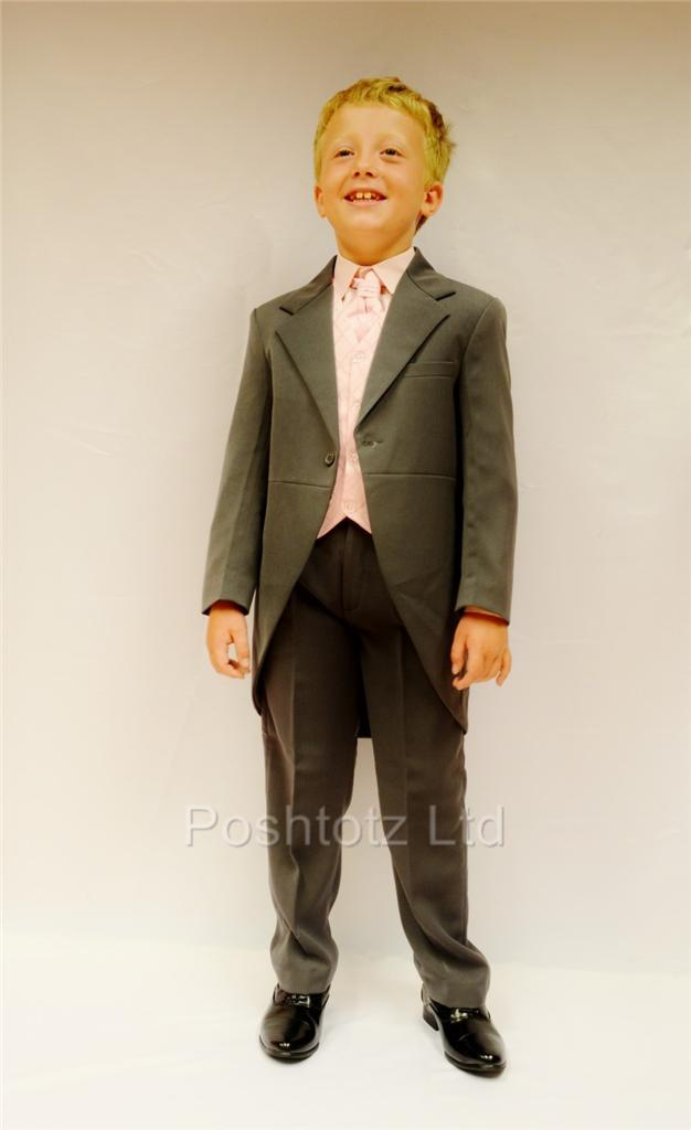Poshtotz-Boys-5-Piece-Grey-Pink-Tails-Suit-Wedding-Pageboy-Usher-0-15yrs
