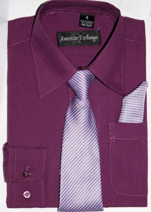 American-Exchange-Mulberry-Raisin-Shirt-Tie-Pocket-Square-Wedding-Prom-1-16yrs