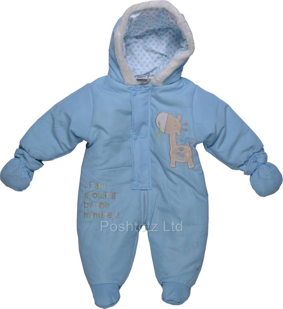 Baby Boys Soft & Cosy Blue Snowsuit Growing Giraffe ...