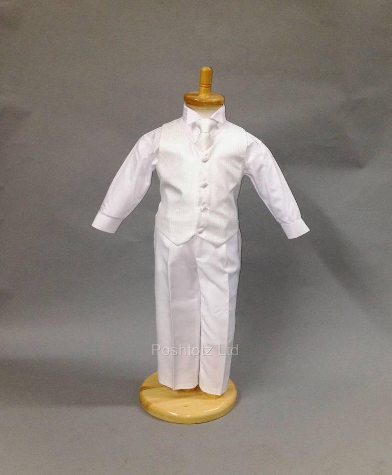Baby-Boys-Suit-4-Piece-White-Silver-Communion-Pageboy-Christening-6mth-16yrs